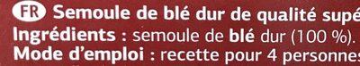 Couscous moyen - Ingredientes - fr