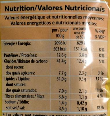 Cacahuètes enrobées goût paprika - Informations nutritionnelles - fr