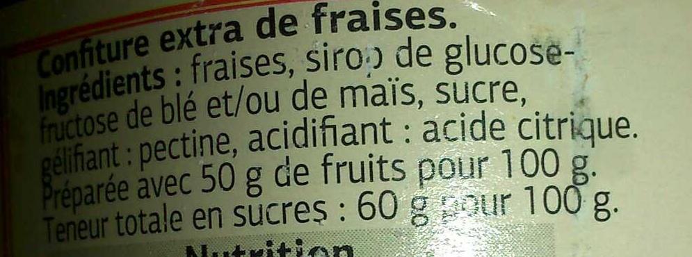 Confiture extra de Fraises - Ingredients