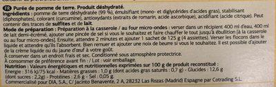 Puré de patatas - Ingrédients - fr