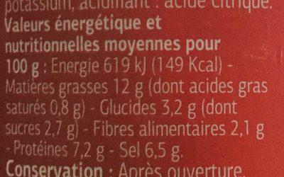 Moutarde forte de Dijon - Informations nutritionnelles