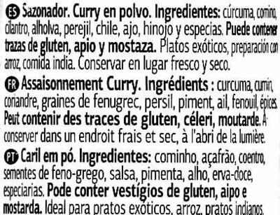Curry - Ingredients - es