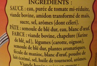 Le Cannelloni à la Napolitaine (Pur Bœuf) - Ingrédients