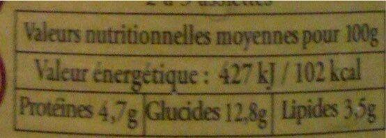 Le Cannelloni à la Napolitaine (Pur Bœuf) - Nutrition facts - fr
