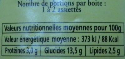 Le Ravioli à l'Italienne (Pur Bœuf) - Informations nutritionnelles - fr