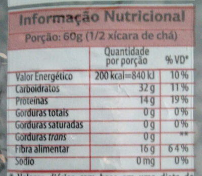Feijão preto - Informação nutricional - pt
