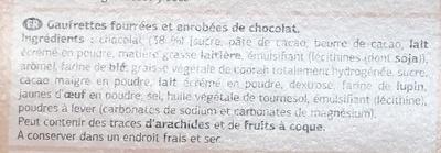 Gaufrettes fourrées et enrobées de chocolat - Ingrédients