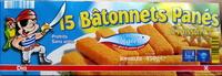 15 Bâtonnets Panés de Poisson, Surgelés - Produit