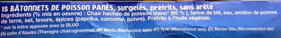 15 Bâtonnets Panés de Poisson, Surgelés - Ingrédients