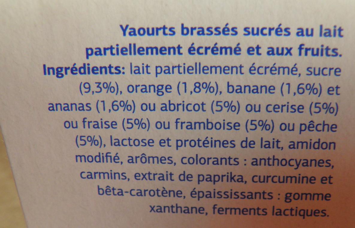Yaourt Brassés - Fruits mixés - Sans Morceaux - Ingredientes