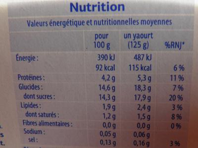 Yaourt Brassés - Fruits mixés - Sans Morceaux - Información nutricional