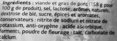 Saucisse séche, qualité supérieure - Ingrédients