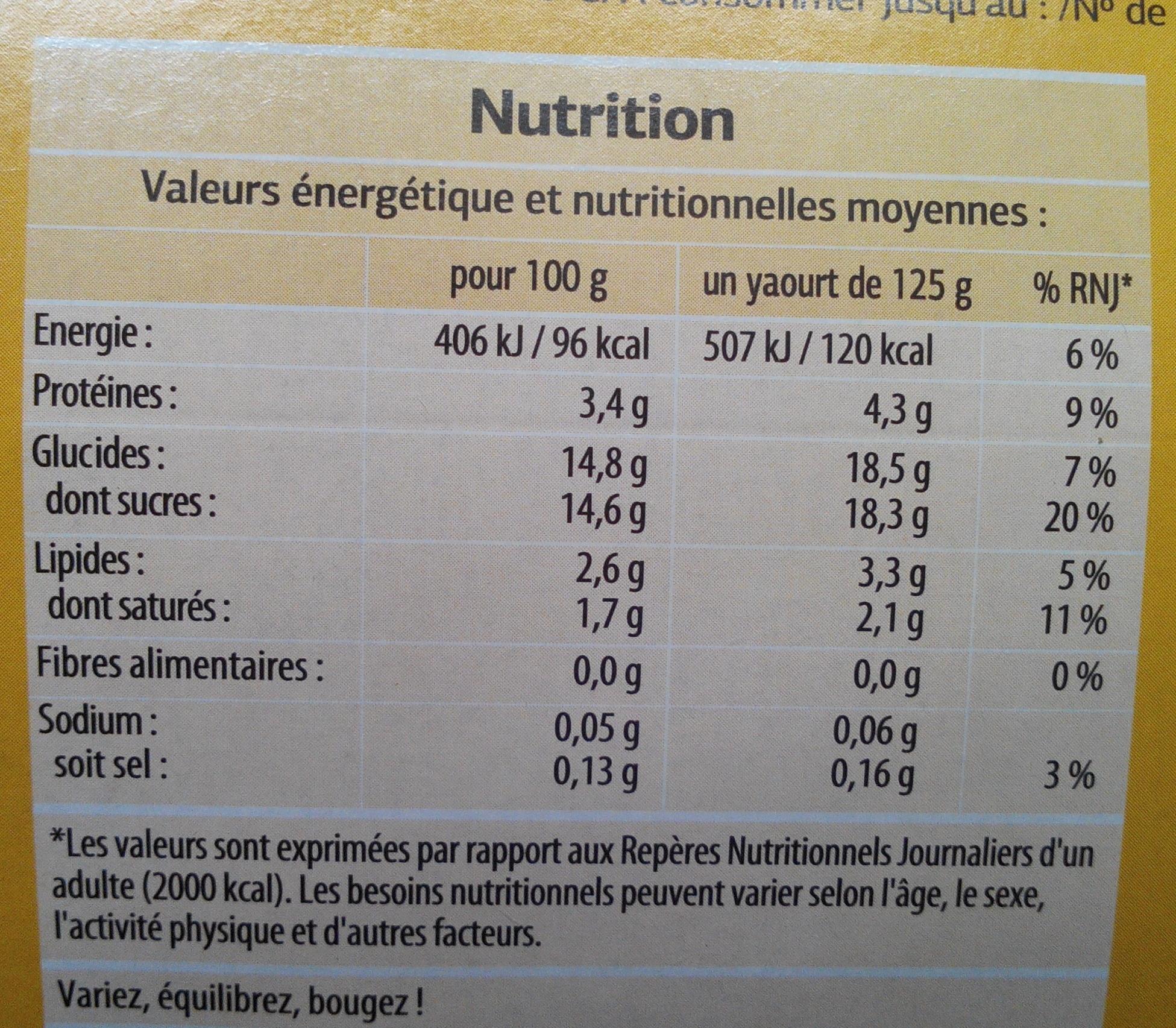 Yaourts aux Fruits (12 pots) - Informations nutritionnelles - fr