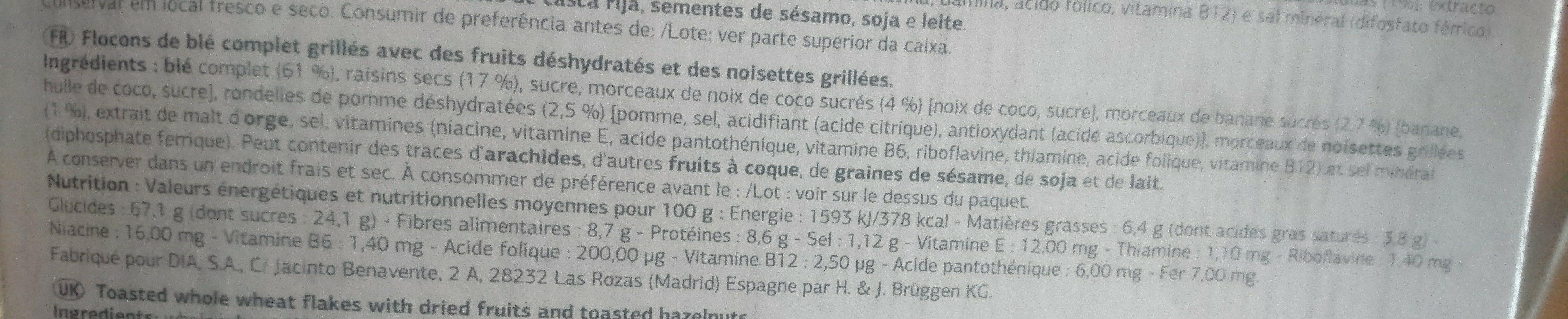 Vital Fruits et Fibres - Ingredients - fr