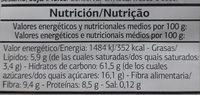 Dia Muesli De Frutas - Información nutricional