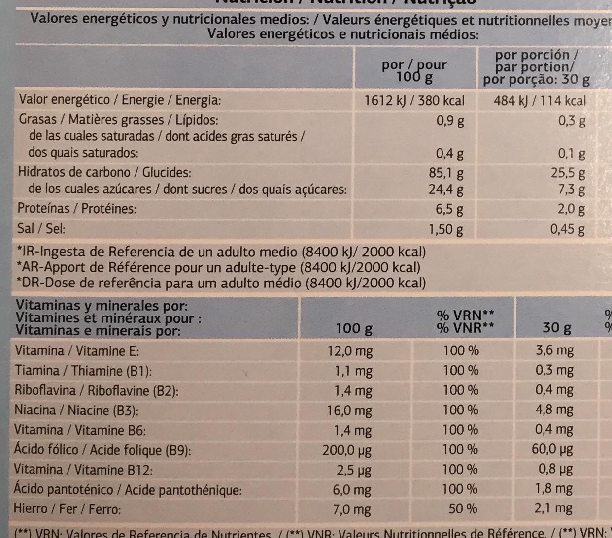 Tortera sugar - Nutrition facts - fr
