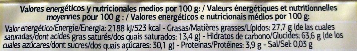 Waffer recheio sabor baunilha - Información nutricional