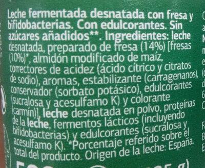 Bífidus con fresa 0% - Ingredientes - es