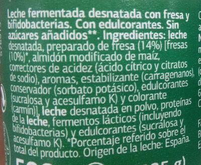 Bífidus con fresa 0% - Ingredientes