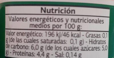 Bífidus con fresa 0% - Información nutricional