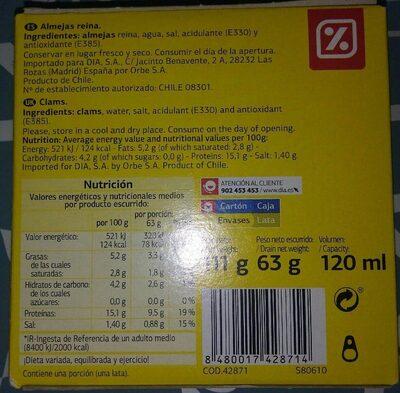 Almejas - Nutrition facts