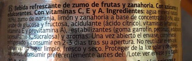 Bebida de zumo de frutas y zanahoria - Ingrediënten - es