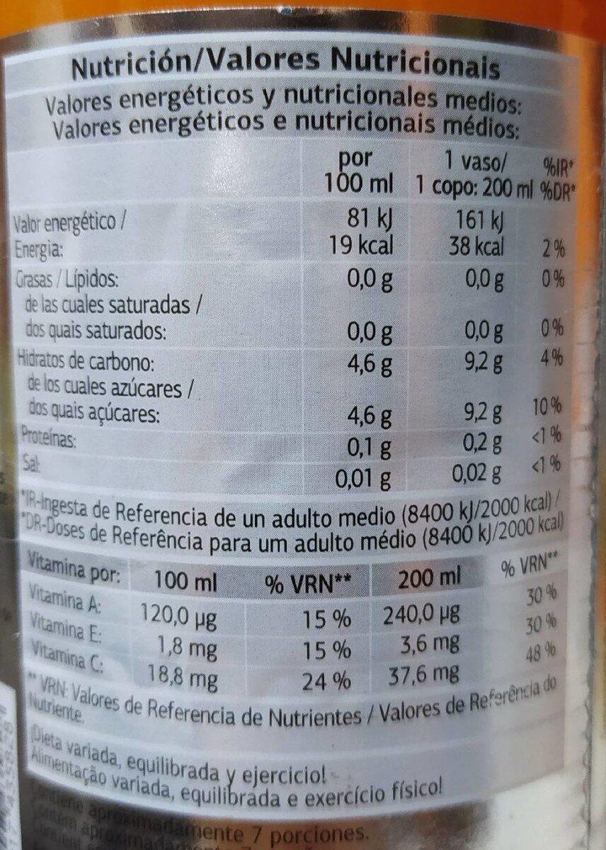 Bebida de zumo de frutas y zanahoria - Voedingswaarden - es