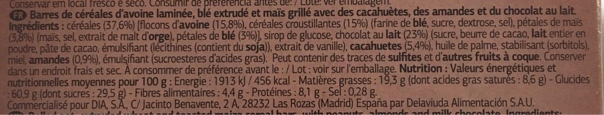Barres de céréales avec du chocolat au lait - Ingredients - fr