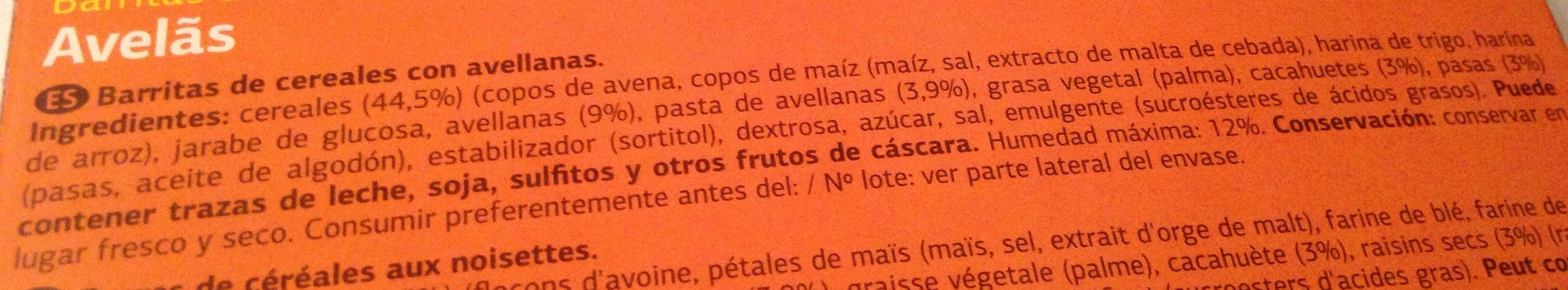 Barritas con Avellana - Ingredients