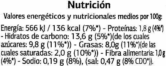 """Tomate frito """"Dia"""" Estilo casero - Nutrition facts"""