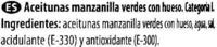 """Aceitunas verdes enteras """"Dia"""" Variedad Manzanilla - Ingredientes - es"""