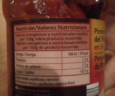 Pimientos del Piquillo en tiras con ajo - Nutrition facts - es