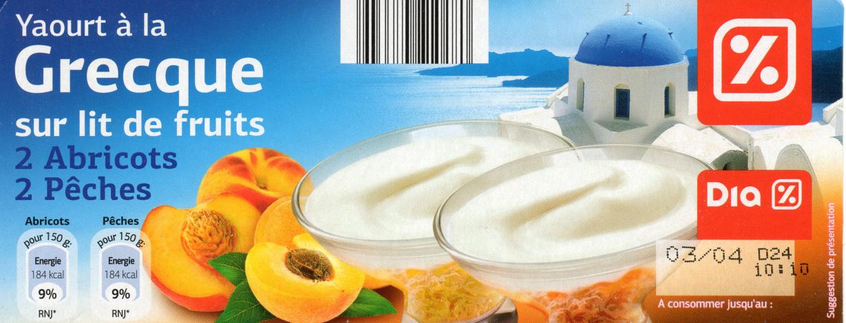 Yaourt à la Grecque sur Lit de Fruits (2 Abricots, 2 Pêches) - Produit - fr