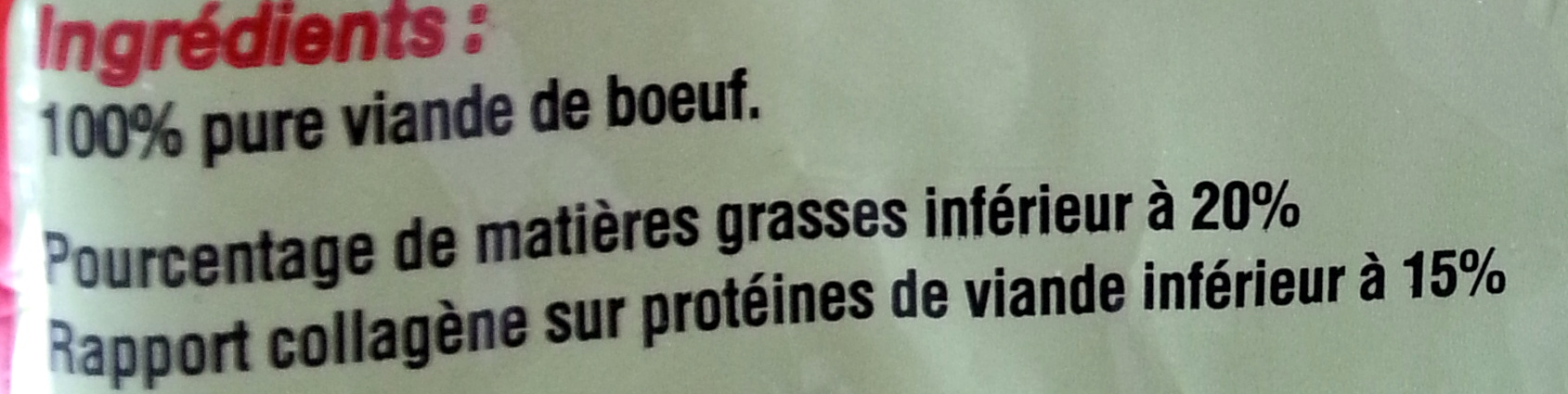 Haché 100% pur boeuf - Ingredients