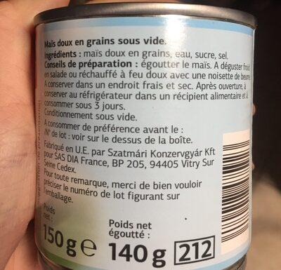 Maíz dulce - Ingrédients - fr