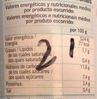Maíz dulce - Informations nutritionnelles - fr