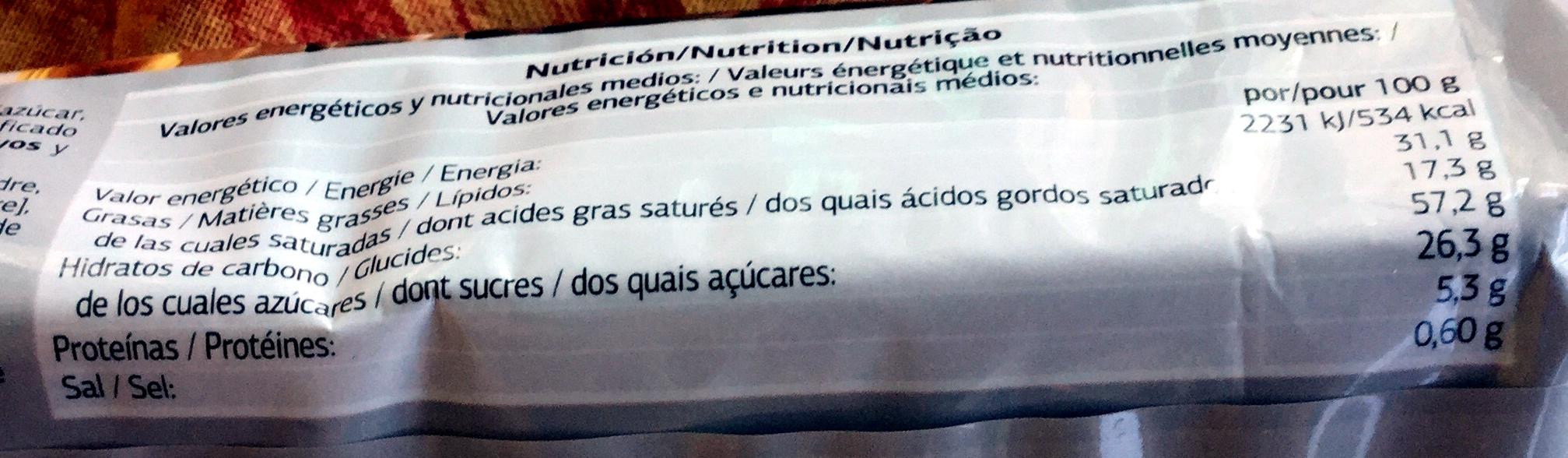 Sprits - chocolat au lait - Información nutricional - fr