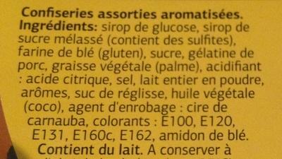 Assortiments confiseries gélifiées et goût réglisse - Ingrédients