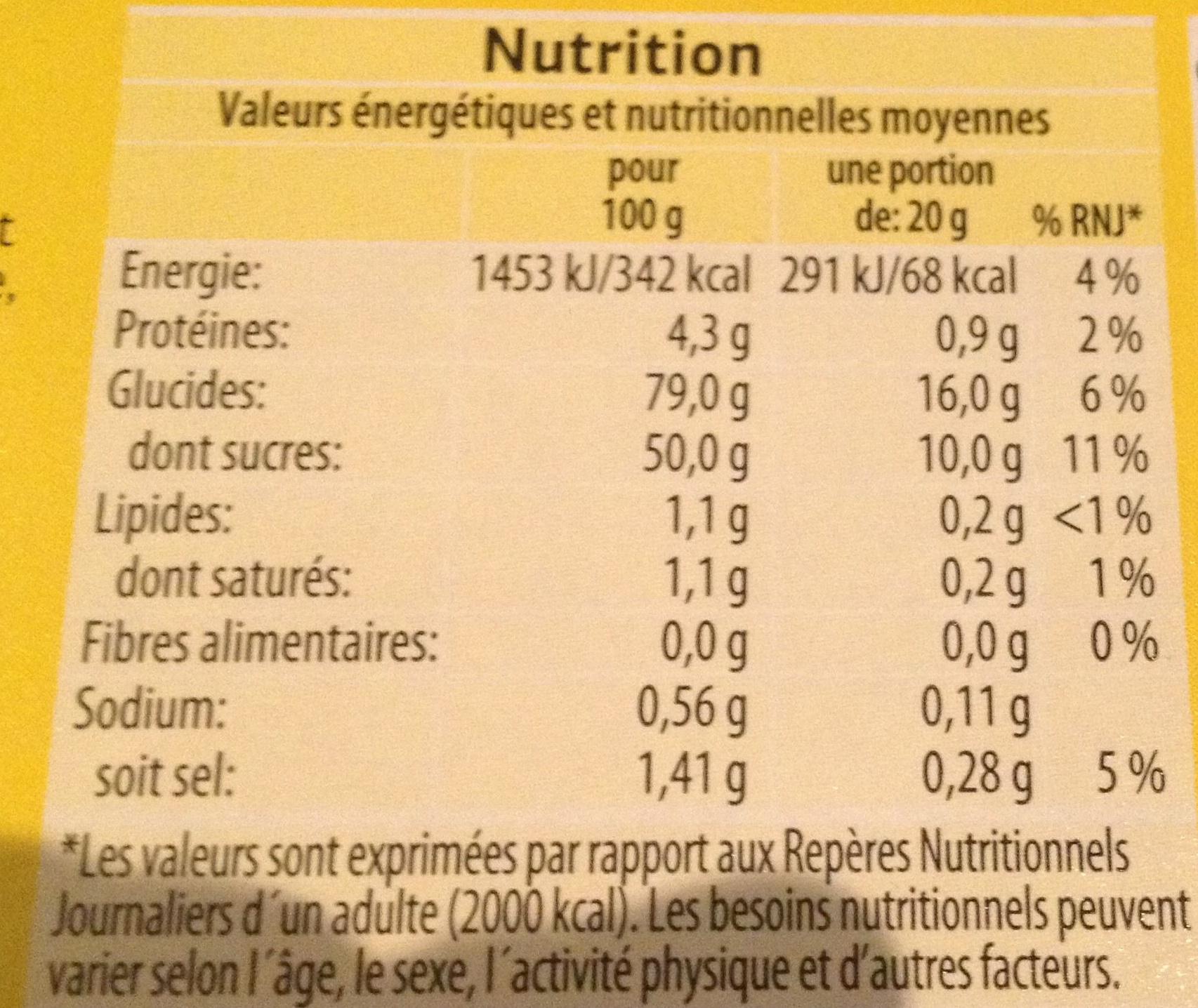 Assortiments confiseries gélifiées et goût réglisse - Informations nutritionnelles