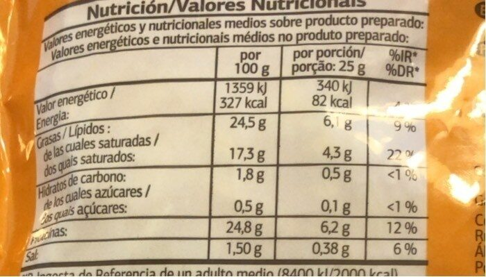 4 quesos - Valori nutrizionali - pt