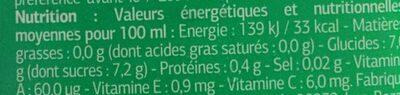 Zumo y leche tropical - Informations nutritionnelles