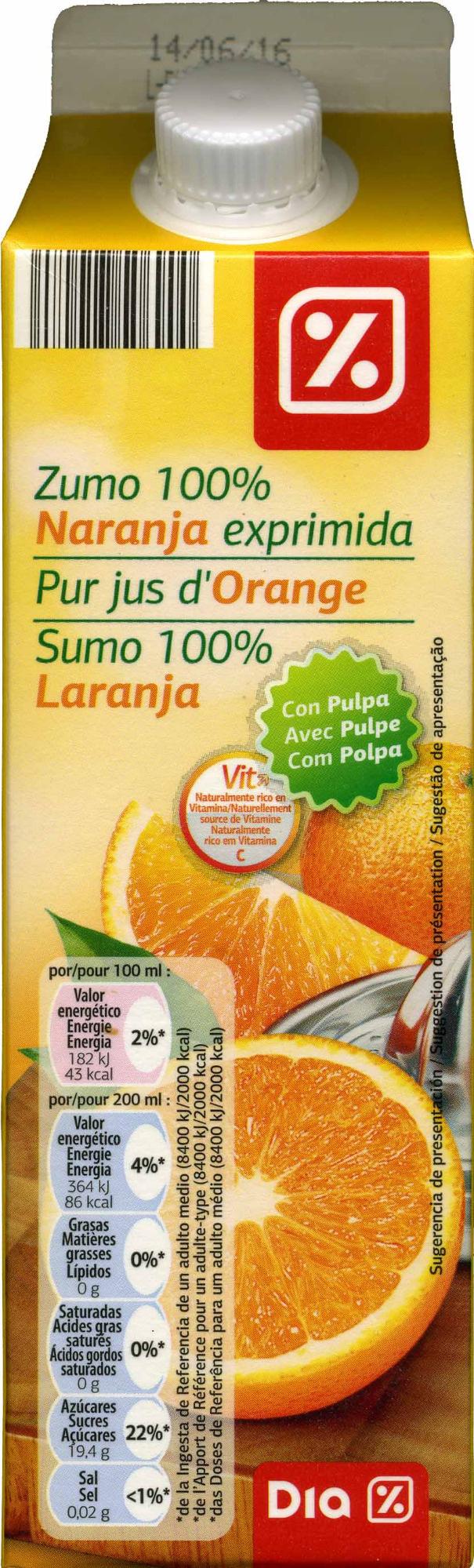 Zumo de naranja exprimida con pulpa - Producte - es