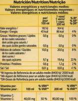 Zumo de naranja exprimida con pulpa - Informació nutricional