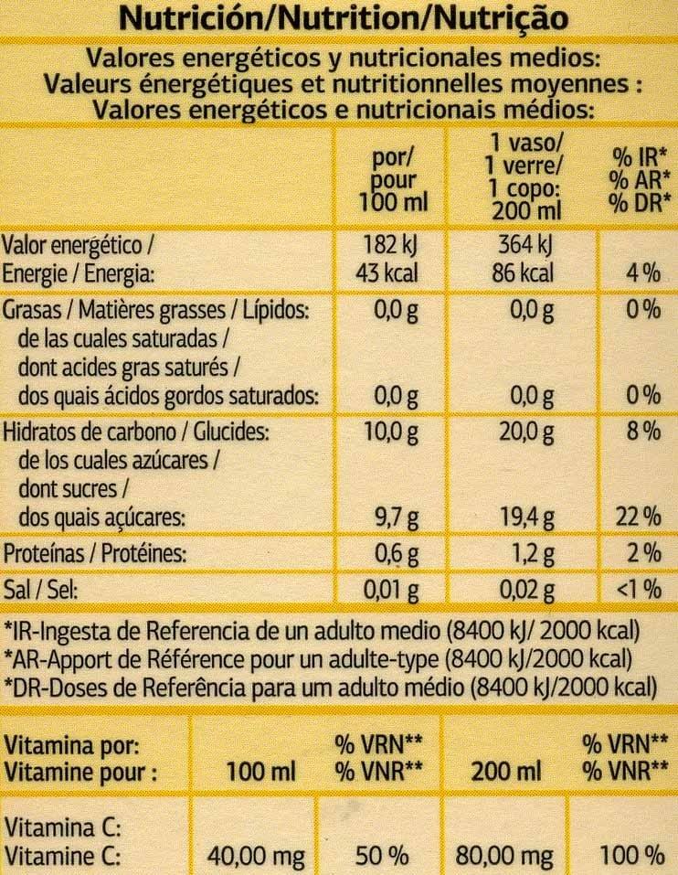 Zumo de naranja exprimida con pulpa - Informació nutricional - es