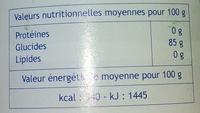 Edulcorant - Voedingswaarden - fr