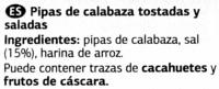 Pipas de calabaza - Ingredientes