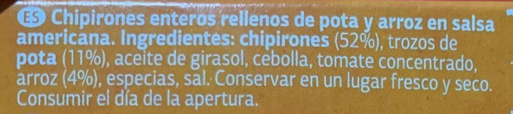 Chipirones rellenos en salsa americana - Ingrédients - es