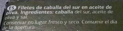 Filetes de caballa del Sur en aceite de oliva - Ingrediënten