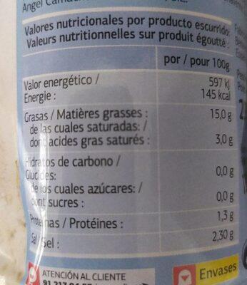 Aceitunas rellenas de anchoa suave - Información nutricional