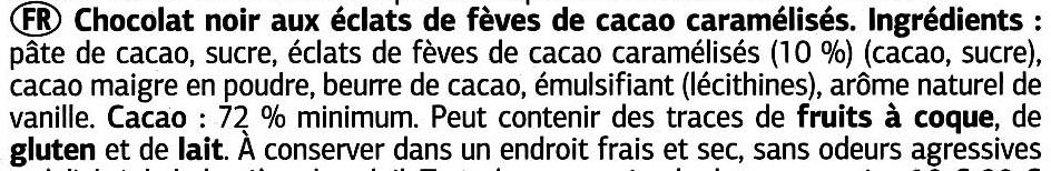 Chocolat noir aux éclats de fêve de cacao caramélisés - Ingredients